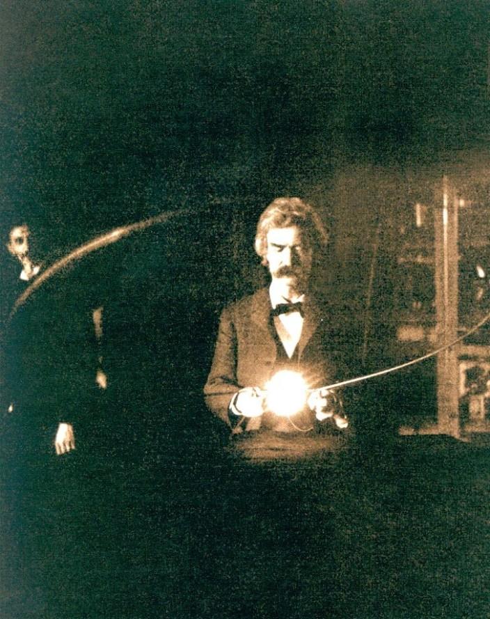 Марк Твен в гостях у Теслы